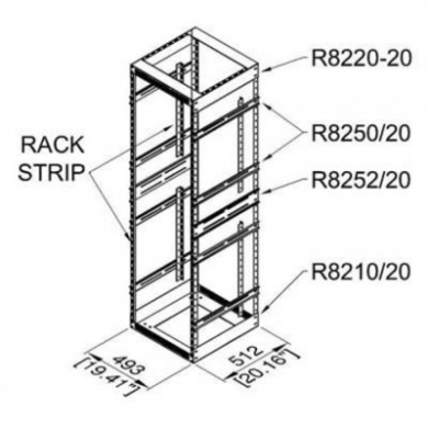 16u Open Tower Rack System 20 Deep