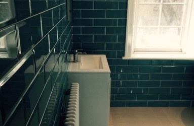 Bathroom and tiling floor and sink