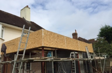 New extension roof outside view